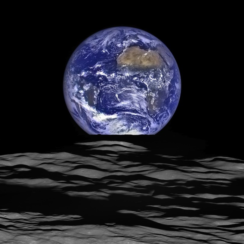 Earth w moon in foreground via Ruth Shilling